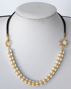 White Goldfilled bib Beaded necklace handmade jewelry swarovski Weddings Bridal Accessories Jewelry, Christmas gift, bead crochet necklace