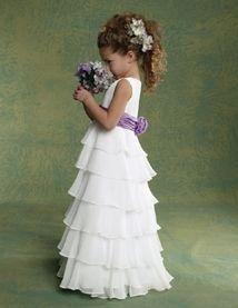 Round white chiffon A-line sleeveless belt tiered floor Flower Girl Dresses FGD193048