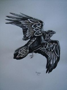 Black bird singing to the dead of night. Celtic raven tattoo idea but I think I would prefer something a bit more Norse Celtic Raven Tattoo, Norse Tattoo, Celtic Tattoos, Viking Tattoos, Fox Tattoos, Armor Tattoo, Warrior Tattoos, Tree Tattoos, Hand Tattoos