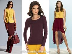 The combination of colors in burgundy dress