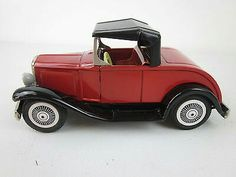 Vtg BANDAI Model A Ford Roadster Friction Tin Litho Red Toy Car Japan NEAR MINT  $39.95Approx NOK332.83