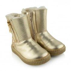 Missouri Girls Gold Leather Glitter Boots