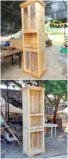 DIY Ideas with Unique Pallets - Fancy Pallets Pallet Hutch, Wood Pallet Tables, Pallet Wall Decor, Pallet Patio Furniture, Pallet Walls, Wooden Pallets, Diy Furniture, Modern Pallet Ideas, One Pallet Ideas