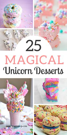 Make your party magical with these easy and delicious unicorn themed desserts. From cupcakes to popcorn these 20 desserts are guaranteed to plase a crowd. Unicorn Themed Birthday Party, Unicorn Party, Birthday Party Themes, Birthday Ideas, Party Treats, Party Snacks, Unicorn Foods, Popcorn, Easy