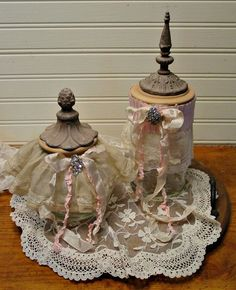 Altered Art Jars  Vintage Lace Trims  Shabby by EdenCoveTreasures