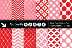 Check out Pink & Red Retro Geometric Pattern by SubwayParty on Creative Market