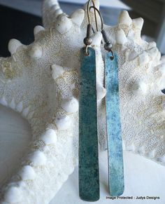Long verdigris patina copper earrings by JudysDesigns on Etsy, $20.00
