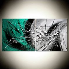 Teal Painting with Black and white Abstract by largeartwork