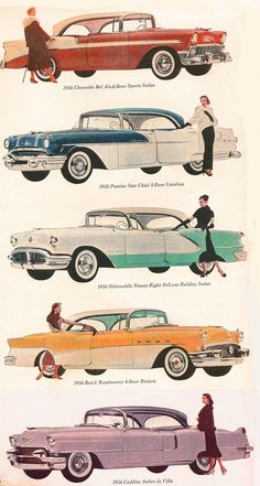 1956 GM Line of Cars - Chevrolet, Pontiac, Oldsmobile, Buick and Cadillac...Brought to you by House of Insurance Eugene Oregon #VintageCars