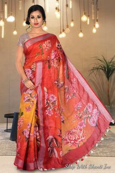 Linen by linen digital printed multi color pure organic handwoven saree with contrast silver zari border Floral Print Sarees, Printed Sarees, Floral Prints, Indian Beauty Saree, Indian Sarees, Glamour Beauty, Elegant Saree, Printed Linen, Beautiful Saree