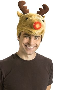 Reindeer Hat with Light-Up Nose Christmas Accessory - Pure Costumes