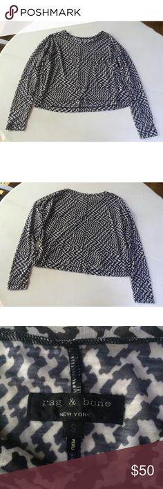 """Rag & bone top shirt houndstooth black white This is a lovely top by Rag & Bone. It has a crewneck, long sleeves, and t style pocket on the front. The pattern is a houndstooth in black and white. Very light weight and a bit sheer. Size S. 89% polyester, 11% cotton. Machine wash, tumble dry.  Shoulder to shoulder: 19""""-23"""" Arm pit to arm pit: 22.5""""-27"""" Waist: 20""""-24"""" Shoulder to hem: 19"""" Sleeves: 22"""" rag & bone Tops Blouses"""