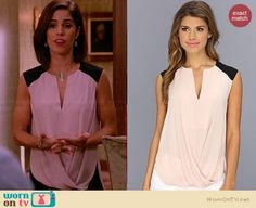 Marisol's light pink draped front top with black shoulders on Devious Maids.  Outfit Details: http://wornontv.net/33574/ #DeviousMaids