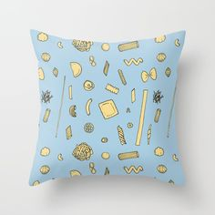 Pasta pattern blue Throw Pillow by laurafrere Blue Throws, Blue Throw Pillows, Graphic, Pasta, Patterns, Pattern, Block Prints, Blue Pillows, Models