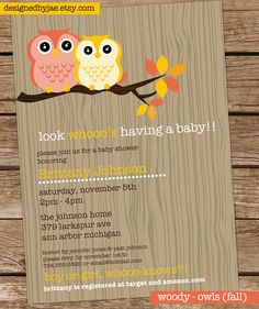 Woody Owls Baby Shower Invitation  Gender Neutral by DesignedByJae, $14.00