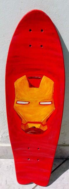 Oil paint in Skateboard.. Iron-man