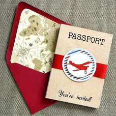 Cool invitations at a vintage airplanes first birthday party! See more party planning ideas at CatchMyParty.com!