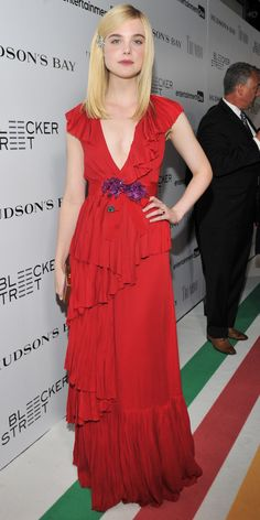 Elle Fanning'sRed Carpet Style - In Gucci, 2015 from InStyle.com