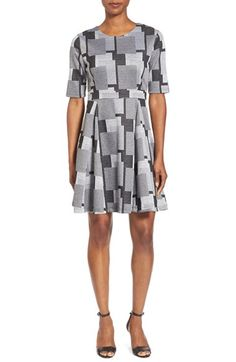 PRESS GeometricPrint Fit & Flare Dress available at #Nordstrom
