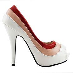 Show Story Red Pink White Peep-Toe Three Tone Elegant Slip-On Pumps,LF30465BP39,8US,Pink - List Price: $59.99 Sale Price: $49.99