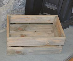 Rustic Wooden Crate with Handles 16 Rectangle Storage