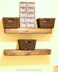 DIY Laundry Room Floating Shelves via PinkWhen.com  |  Crafts  | Recipes | DIY
