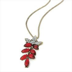 Burnished gold effect chain necklace with Siam red colour crystal flower pendant 5050891279554 on eBid United Kingdom