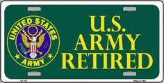 Army Retired Novelty Metal License Plate