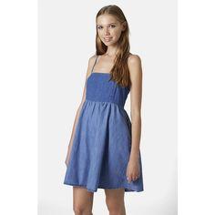 Topshop Colorblock Denim Babydoll Dress (249790 PYG) ❤ liked on Polyvore