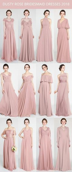 Bridesmaid Gowns trending dusty rose bridesmaid dresses for 2018 Rustic Wedding Dresses, Trendy Wedding, Wedding Gowns, Wedding Rustic, Hair Wedding, Bridal Gowns, Party Wedding, Gold Wedding, Wedding Nails