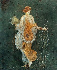 harmonia-harmonia: Flora, woman picking flowers with a cornucopia in the ruins of Pompeii, 1-45 AD.