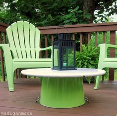 Update your outdoor space on the cheap {with bright apple green accents} ~ Madigan Made { simple DIY ideas }  The table is a table top attached with gorilla glue to a metal tub.