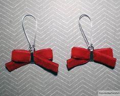 DETAILS ░ Bows earrings, velvet earrings, red earrings, red bows earrings, scarlet earrings, bright earrings, baby doll earrings, lightweight earrings, festive earrings, evening earrings, ribbon earrings, fabric earrings, wire earrings, silver earrings, dangle earrings, drop earrings ░ Bow