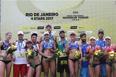 Two Brazilian teams won last weekend's FIVB World Tour event in Rio de Janeiro. Alison/Bruno defeated Kantor/Losiak in the men's gold medal match. Beach Volleyball, A Team, Rio De Janeiro