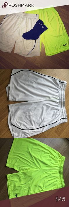 NIKE Basketball shorts Women's fit (white) Worn. Still In great condition! Men's fit (yellow) Worn once. Too big for me. The only wear is from the washing machine. Still in perfect condition! Being sold separately for $45 each. $75 if sold together, and will include a free gift! Nike Shorts