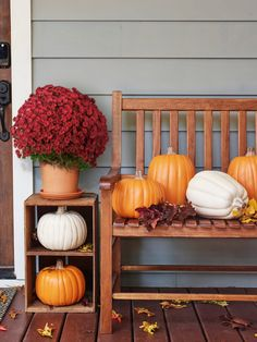 Regardless of indoor or outdoor placement, you can't go wrong with mums and pumpkin décor. Fall Table, Thanksgiving Table, Thanksgiving Decorations, Fall Door Decorations, Fall Decor, Holiday Decor, Indoor Turkey Fryer, Thanksgiving Inflatables, Mums In Pumpkins