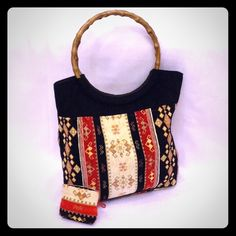"""Tapestry Craft Bag & Coin Purse Like new condition, heavy tapestry material, wooden round handles, clean interior with one zipper pocket. Comes with accessory purse that can be used as a coin purse or to hold small craft items, 14"""" x 11"""" x 3.5"""". Han Handicraft Bags Totes"""