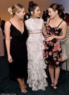 Catching up: The 26-year-old chatted to her Spring Breakers co-star Vanessa Hudgens, along...