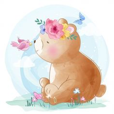 cute little bear playing with bird, Watercolor, Birthday, Baby PNG and Vector Colorful Drawings, Cute Drawings, Cute Pink Background, Background Images, Scrapbooking Image, Animal Graphic, Cute Little Boys, Watercolor Animals, Flower Watercolor