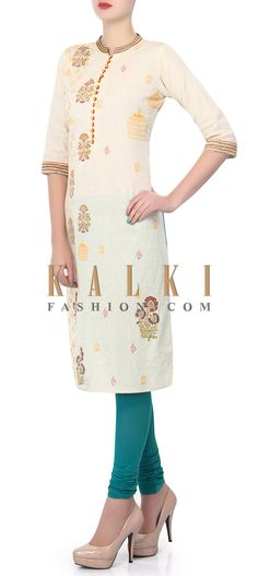 Buy Online from the link below. We ship worldwide (Free Shipping over US$100). Product SKU - 320730. Product Price - $29.00. Product Link - http://www.kalkifashion.com/cream-kurti-enhanced-in-printed-butti-only-on-kalki.html