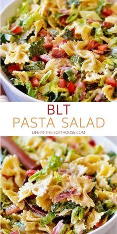 Fresh Salad Recipes, Summer Salad Recipes, Pasta Salad Recipes, Healthy Salad Recipes, Healthy Pasta Dishes, Easy Summer Salads, Healthy Pasta Salad, Vegetarian Salad, Blt Pasta Salads