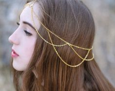 CELEBRATION SALE Libby Gold Head Chain, hair jewelry chain, chain headband, chain head piece, chain hair piece, hair jewelry