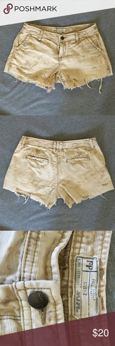 Free People distressed shorts Authentic Free People distressed shorts. Only worn a few times, in great condition. Shorts came frayed and distressed when bought. Size 2. Free People Shorts Jean Shorts