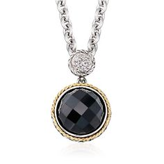 Andrea Candela Black Onyx Doublet Necklace With Diamonds in Sterling Silver and 18kt Yellow Gold. 16""