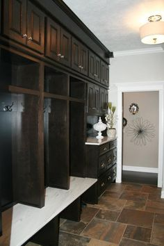 Proving that even mudrooms can be elegant. Sioux, Laundry Rooms, Mudroom, Entryway Bench, Sd, Lockers, Elegant, Furniture, Home Decor