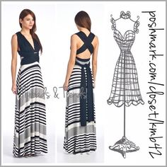 Coming Soon! New Style Crisscross Maxi Dress Wow! What a show stopper this is. Classic black & white striped maxi dress. A whole new look with crisscross adjustable bodice straps. Wear them several different ways. Elegantly draping down the back, tied up in a beautiful bow or show your own unique style. Made of cotton/ploy and spandex blend. Size S, M, L Threads & Trends Dresses Maxi