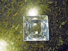 Vintage Clear Glass Square Ashtray