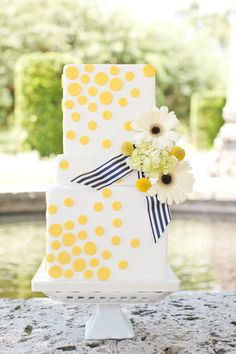 Preppy perfection from Sugar Fancies. #weddingcake #katespade  Read more - http://www.stylemepretty.com/florida-weddings/2013/10/11/kate-spade-inspired-wedding-shoot-from-chelsey-boatwright-photography/