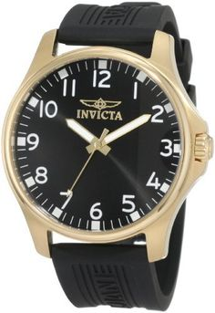 Invicta Men's 11398 Specialty Black Dial Black Polyurethane Watch Invicta. $79.89. Swiss quartz movement. Black dial with gold tone hands and white arabic numerals; luminous. Water-resistant to 100 m (330 feet). Gold tone second hand. Flame-fusion crystal; brushed and polished 18k gold ion-plated stainless steel case; black polyurethane strap