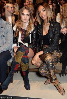 Cara and Jourdan make a model front row at Burberry Prorsum London AW15-16 Fashion Week display
